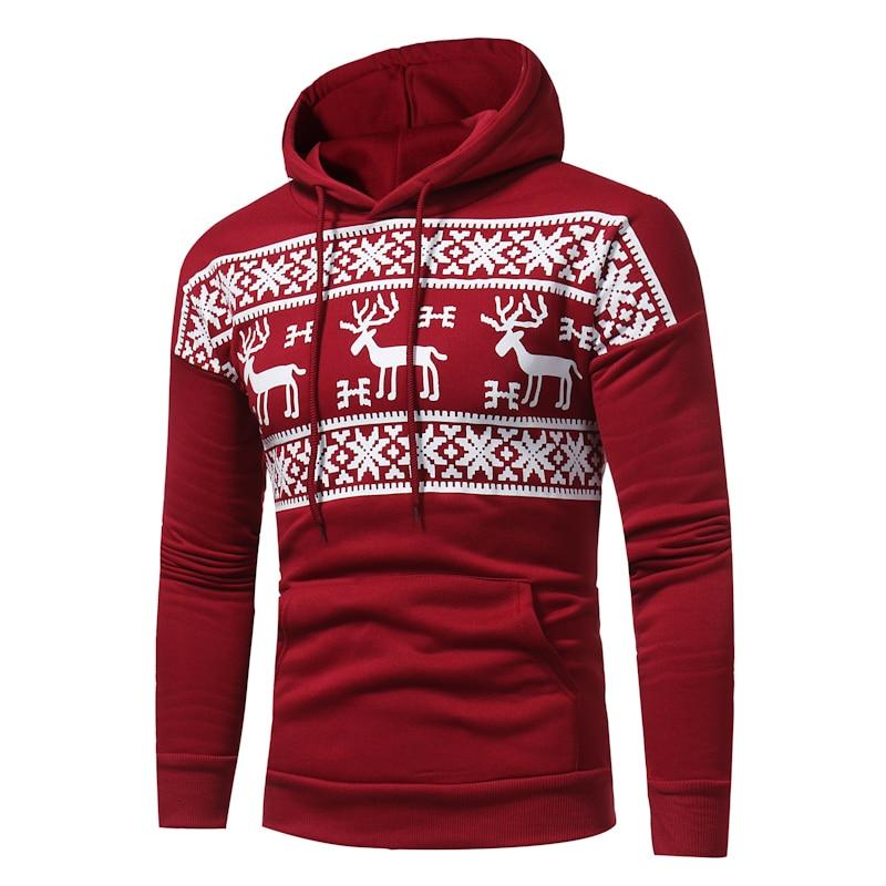 Men's Elk Hood Kerst Trui Mannen Women Fashion Christmas Snowflower Prints Pullover Winter Sweater Men Black Sweater
