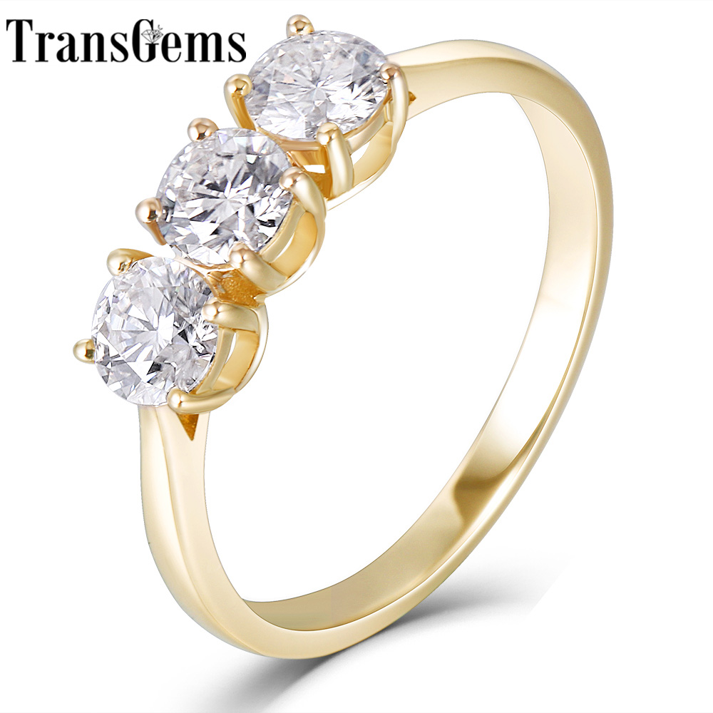 Transgems Solid 14K Yellow Gold 3 Stone Total 1CTW F Color Moissanite Wedding Band Engagement Ring For Women