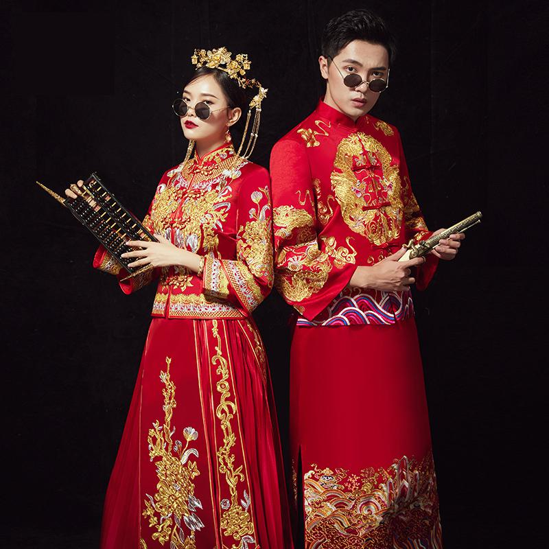 Chinese Style Red Marriage Suit Suzhou Embroidery Women&Men Cheongsam Ancient Bride&Groom Wedding Clothes Oriental Qipao S XXL