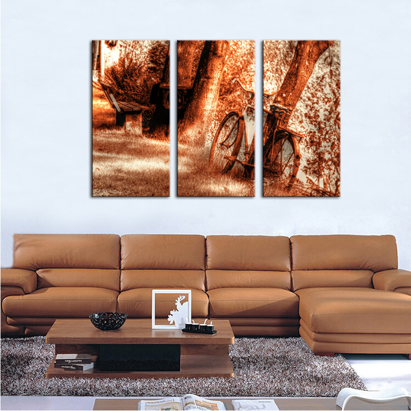 3 picture combination wall art old rusty vintage bicycle for Bicycle painting near me