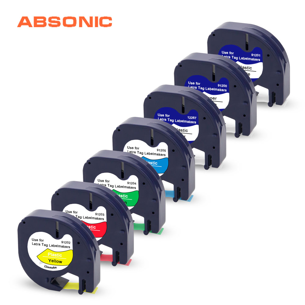 6PCS Black on White Plastic Label Tape 12mm for DYMO Letra Tag LT 91331 LT100T