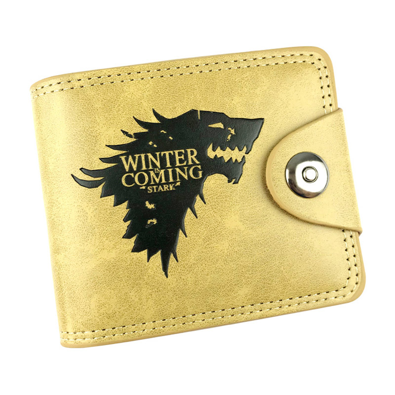 Hot Sell Game of Thrones Anime Khaki Wallet PU Leather With Wolf head Short Folding Purse Card Holder of Button Money Bag anime pu short yellow purse button wallet printed with pikachu of pikachu