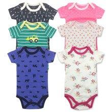 Barboteuse d'été pour bébés filles et garçons, tenues à manches courtes, tenues envoyées au hasard, 0-24M, 3 paquets
