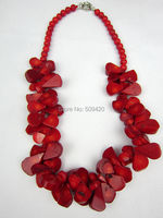 W&O655 >>Very Huge Handmade Multi Red Real Coral Beads Necklace New 2014 Fashion Jewelry