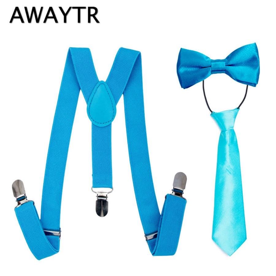 3 PCS AWAYTR Baby Suspender Set Neckties Bow Ties Suspenders Set for Kids Blue Color Braces School Wedding Belt for Pants