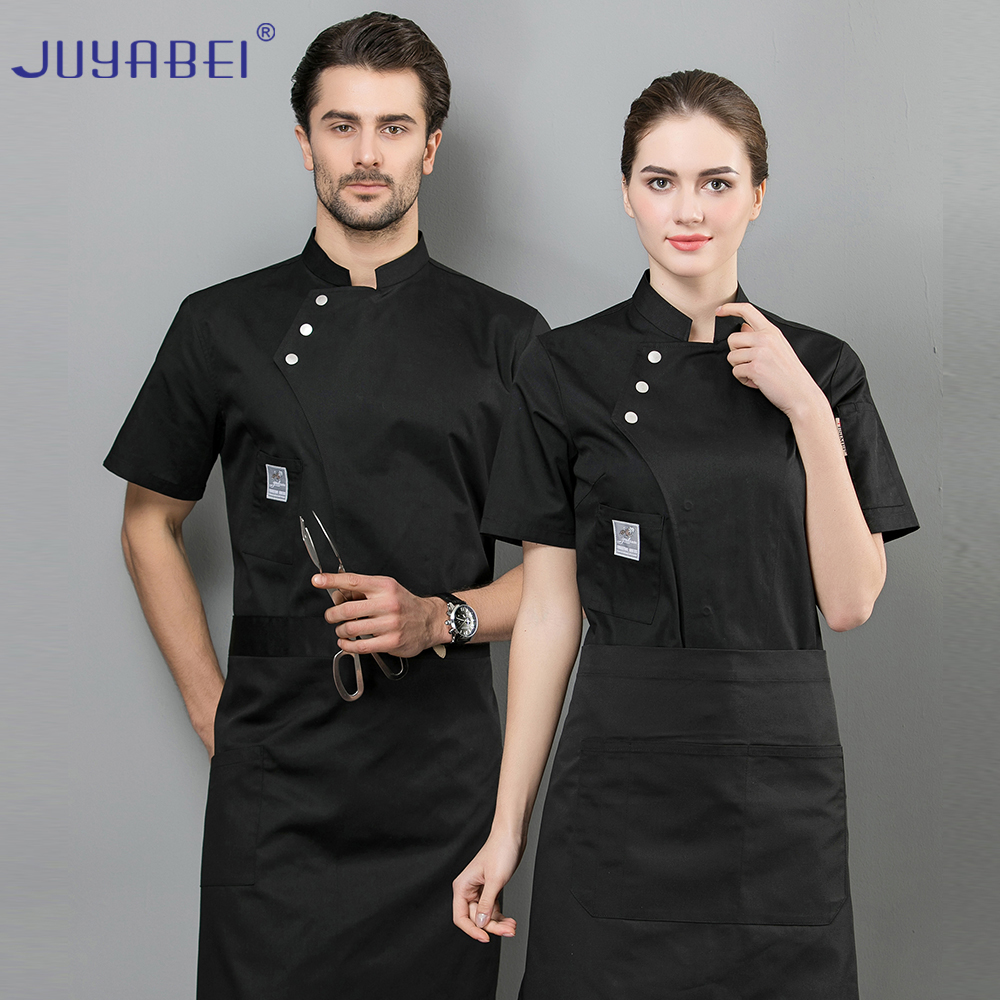 Short-sleeved Chef Jacket Uniform Hotel Overalls Unisex Summer Short-sleeved Breathable Baking Catering  Restaurant Overalls