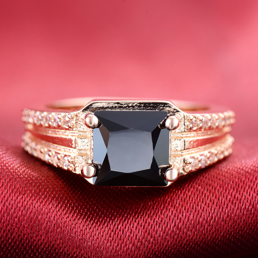 LY Vintage Brand Black Gold Ring Victoria Wieck Rose Gold Wedding ...