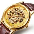LuxuryAESOP relógio de ouro dos homens de esqueleto de aço Inoxidável mecânico Automático de couro de Safira à prova d' água assista relogio masculino