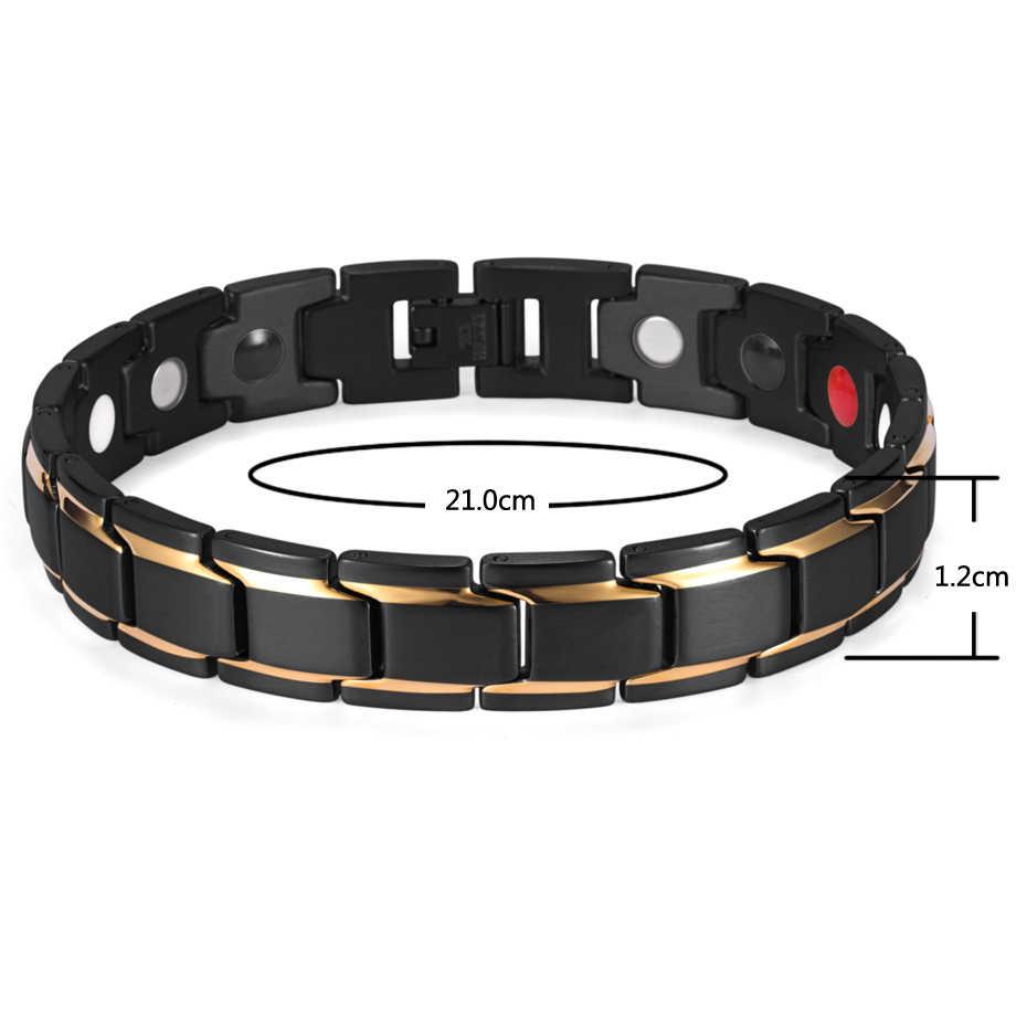 Diseño de marca Rainso, brazalete de energía para la salud a la moda, brazalete de hombre de acero inoxidable 316L 4 en 1, pulseras biomagnéticas, joyería 1540