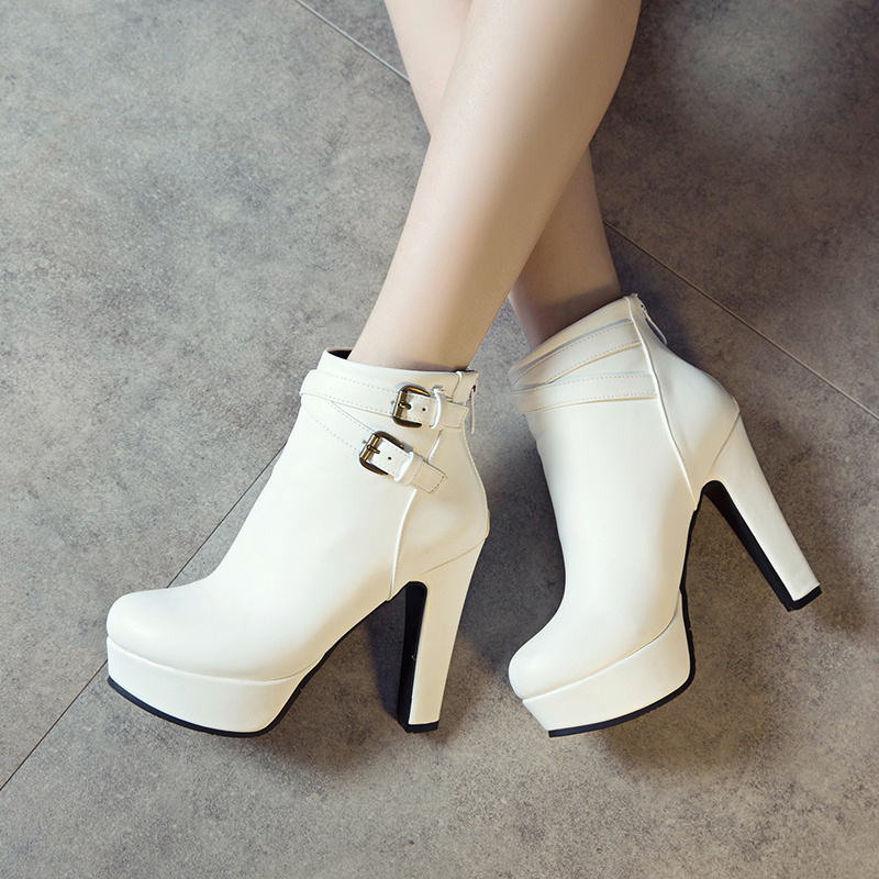 Image 5 - Plus Size 48 New Fashion Women's Boots Sexy High Heels Platform Ankle Boots For Women Black Red Yellow White Heels Shoes Ladies-in Ankle Boots from Shoes