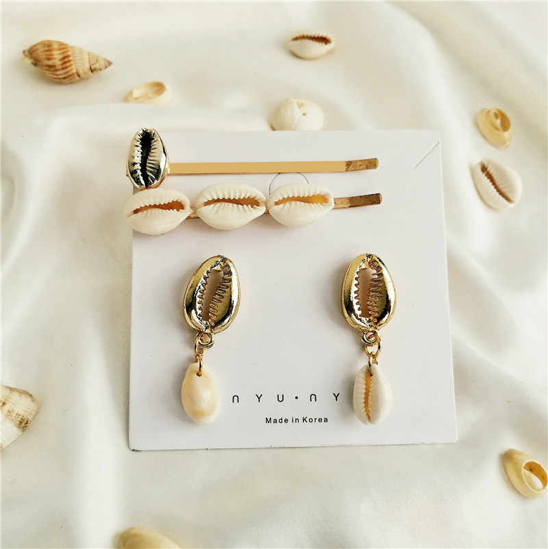 17KM 2019 New Pearl Shell Jewelry Hairpins Earrings Set For Women HA+EA Gold Color Shell Hair Clips Jewelry Accessories