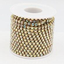 Promotion 1 row ss18 rhinestones chain 10 yards/lot gold metal clear glass wedding dress decorative crystal