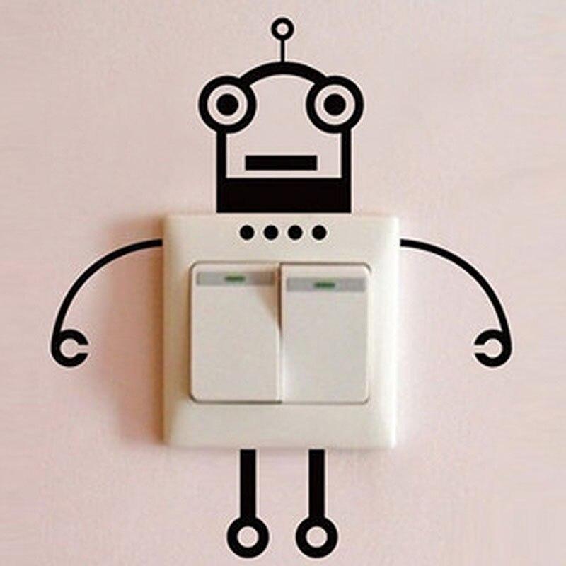 2 pcs mode robot commutateur autocollant salon chambre affiche de mur dcoration de la maison kt0070 - Affiche Garcon Robot