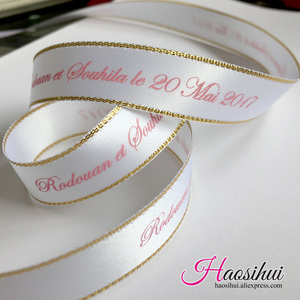 Image 2 - (16mm,23mm,39mm) custom wire edge ribbon with wedding brand logo and party Gifts car decoration wedding party 100yards/lot