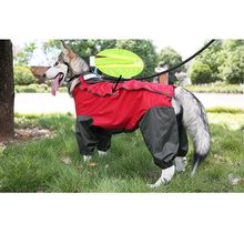 Gros chien imperméable vêtements Labrador Retriever imperméable à capuche Outwear Pet grand chien imperméable manteau de pluie veste combinaison Costume salopette 20(China)
