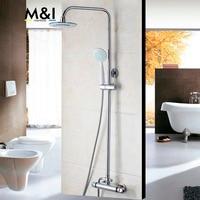 Thermostatic Rainfall Shower Head 53953 Chrome Bathroom Bath Shower Mixer Taps Shower Faucet Tap Set