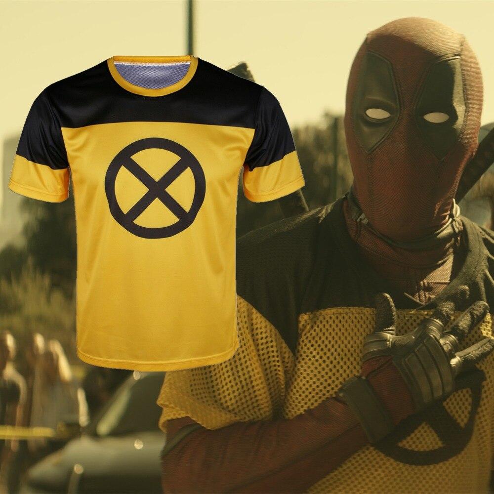 1 Piece Deadpool 2 T Shirt Superhero Yellow Short Slim Polyester Mens Short Sleeve Cosplay T Shirts Halloween Costume
