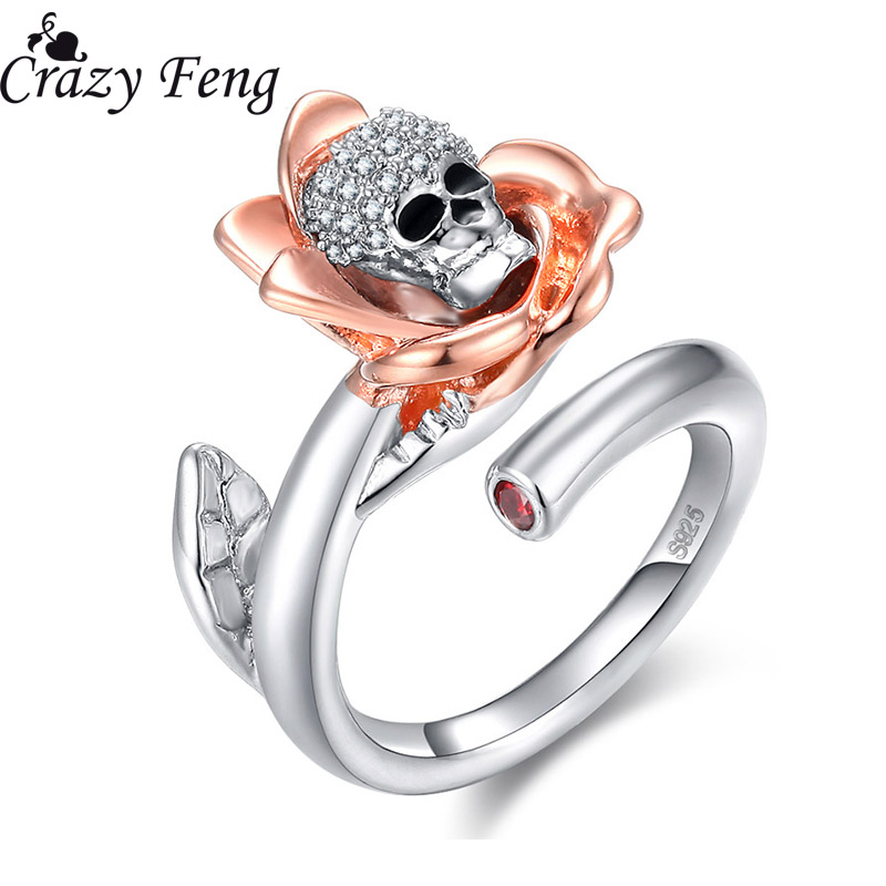Crazy Feng Women Gothic Punk Skull Skeleton Zinc Alloy Rings Jewelry Fashion Rose Gold Color Crystal Flor Open Ring Size 6,8,10