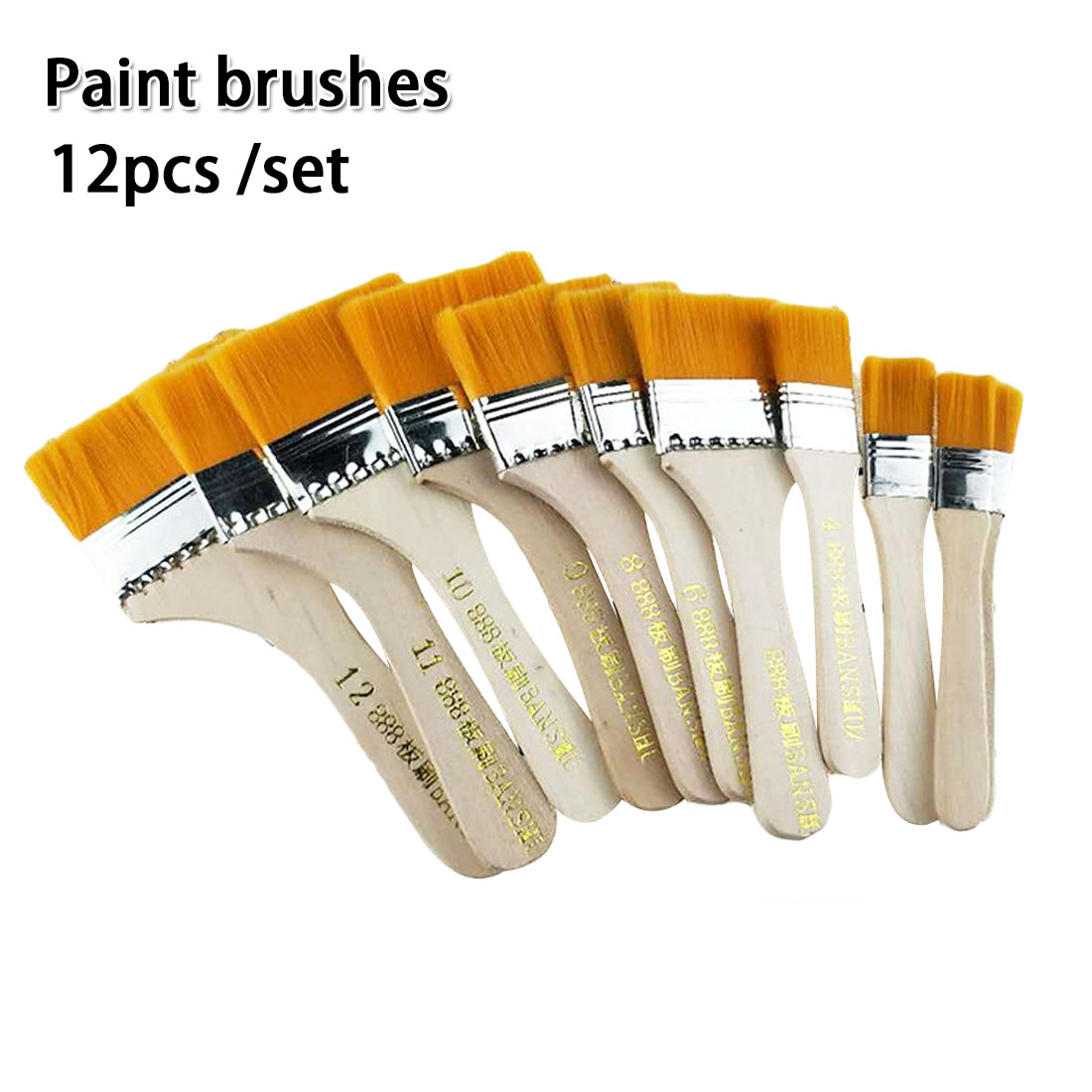 12Pcs Nylon Hair Painting Brush Oil Watercolor Differeent Size Acrylic Paint  Scrubbing Brushes