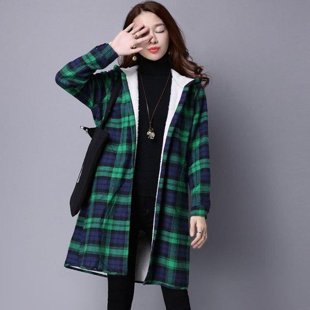 Новый Повседневная Зима И Осень Теплые Куртки Женщин С Капюшоном Плед Длинное Пальто Руно Толстая Пиджаки Пальто Женщина Куртка Большой Размер