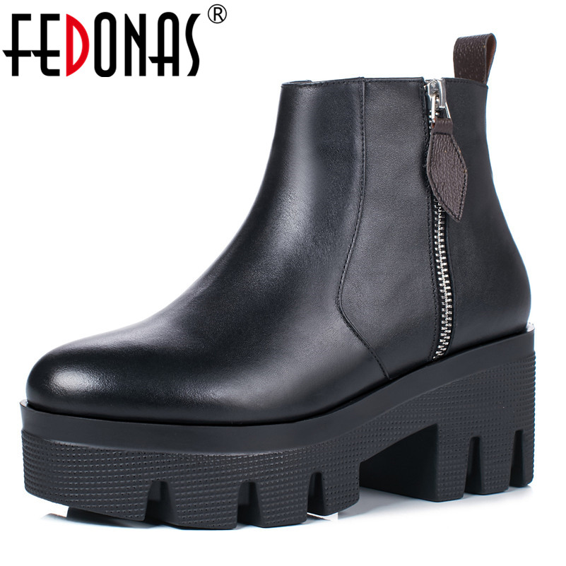 FEDONAS Punk Black Women Thick High Heels Platforms Martin Shoes Woman Zipper Warm Short Motorcycle Boots Ladies Warm Boots fedonas new warm autumn winter snow shoes woman high heels zipper short martin boots retro punk motorcycle boots 2019 new shoes