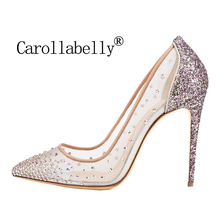 цены Carollabelly Brand Shoes  Bling Sexy Design Pumps Pointed Toe  Women High Heel Mesh Party Wedding Stiletto Shoes  Thin Heels