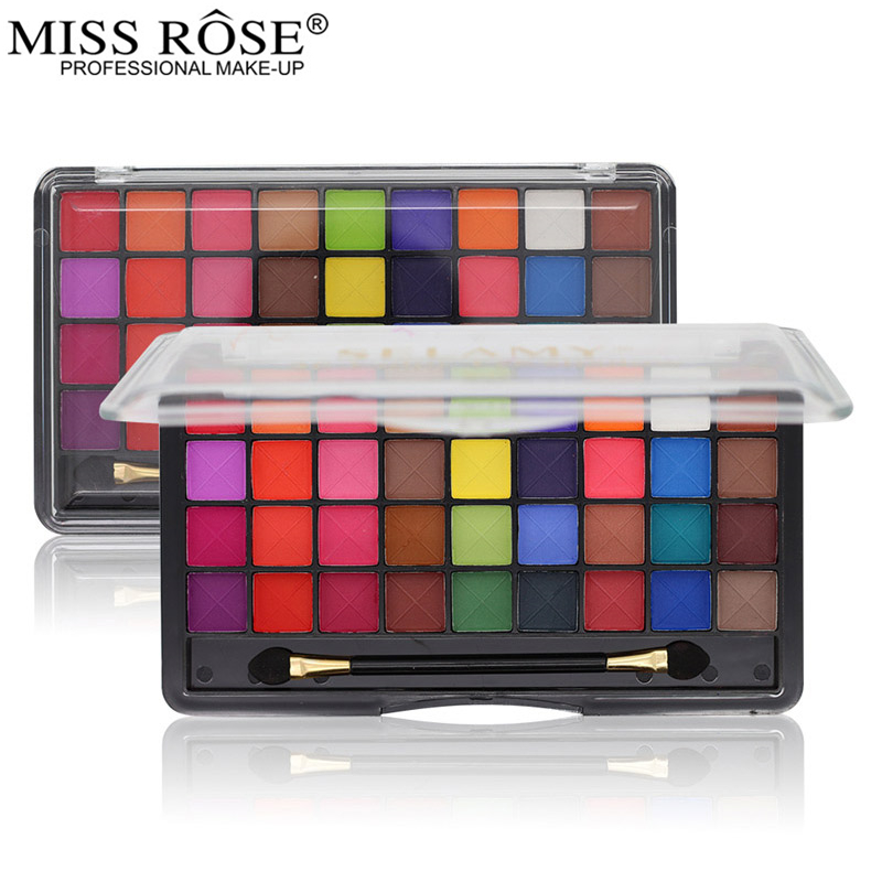 Miss Rose 36 Color Eyeshadow Palette Make Up Palette Bright Matte Shimmer Colorful Makeup Eye Shadow Set Cosmetic With BrushMiss Rose 36 Color Eyeshadow Palette Make Up Palette Bright Matte Shimmer Colorful Makeup Eye Shadow Set Cosmetic With Brush