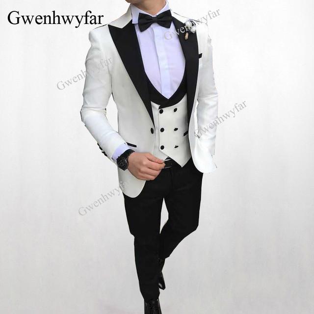 Gwenhwyfar 2018 Men Double Breasted Vest Suits Peacock Blue Wedding Groom Tuxedo For Men Suits Prom Best Man Wear Blazer 3 Piece