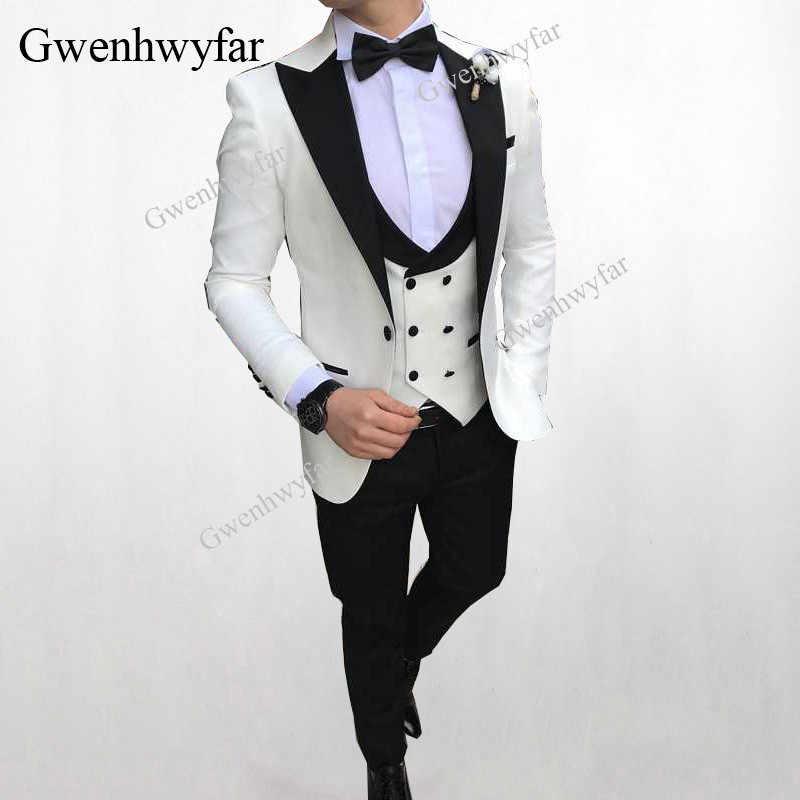 Gwenhwyfar 2018 мужской двубортный жилет костюмы павлин синий свадебный смокинг жениха для мужчин костюмы выпускного бала Лучшая мужская одежда Блейзер 3 шт.