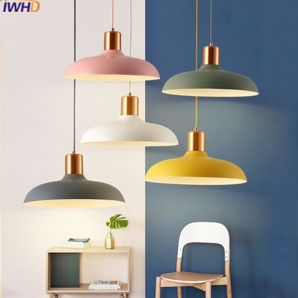 IWHD Iron Pendant Lights Led Modern Kitchen Hanging Lamp Color Metal Light Fixtures Suspension Luminaire Home Lighting Lamps  IWHD Iron Pendant Lights Led Modern Kitchen Hanging Lamp Color Metal Light Fixtures Suspension Luminaire Home Lighting Lamps