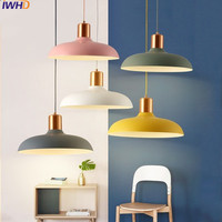 IWHD Iron Pendant Lights Led Modern Kitchen Hanging Lamp Color Metal Light Fixtures Suspension Luminaire Home