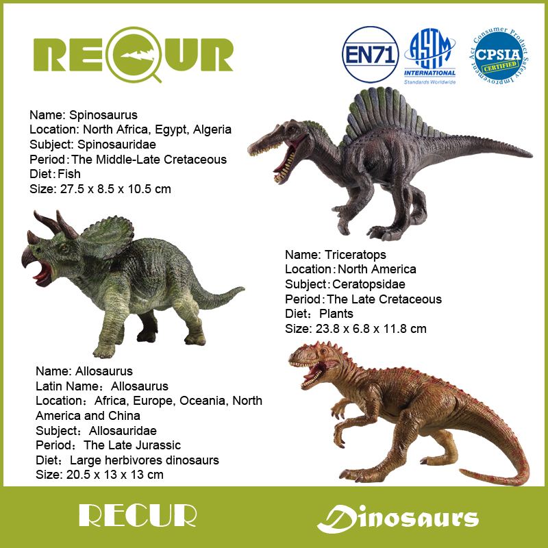 где купить 3 pcs/set Recur Original Design New Spinosaurus+Triceratops +Allosaurus Dinosaur Model PVC Decoration Hand Painted Soft Toys по лучшей цене