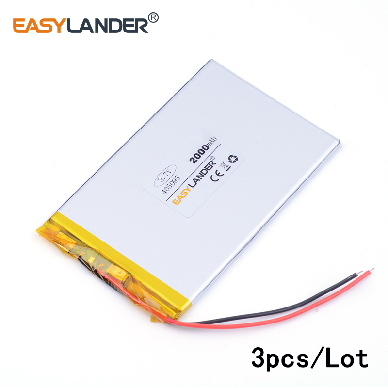 3pcs /Lot 3.7v lithium Li ion polymer rechargeable battery 405095 2000MAH For tablet pc power bank PAD PSP E-book andorid phone