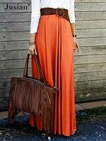 Jusian Women's Fashion Simple A LIne Solid Long Skirt Orange Purple F 1205