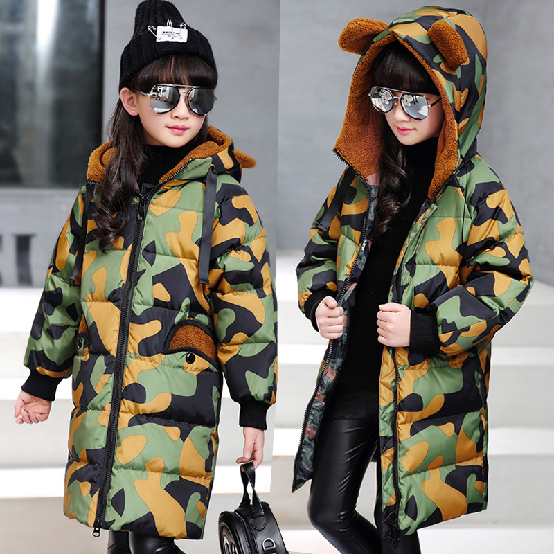 bear ears character Children down jacket for girls blue orange green camouflage children's winter coat Long Child Clothes parka куртка turbokolor ewald jacket ss13 green orange m