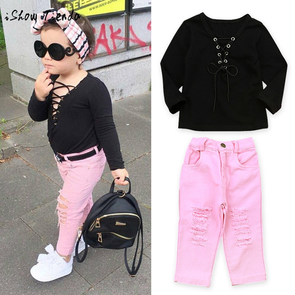 ISHOWTIENDA V-Neck toddler clothes winter girsl set t-shirt girl Tops Jeans Pant 2Pcs children's Clothing girls boutique outfits 2pcs set toddler kids girls clothes wild heart long sleeve t shirt tops pant outfit cute girl children suit 1 6y