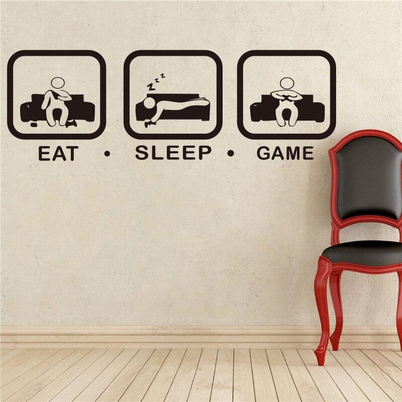 Eat Sleep Game Wall Decal Gaming Joystick Playing Sticker ...