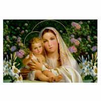 Diy diamante figura religiosa Virgen María 5D Diy bordado redondo cristal resina diamantes mosaico punto de cruz. Personalizado foto