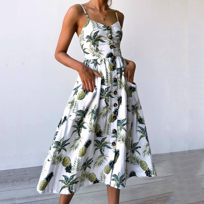 Women Print Spaghetti Strap Summer Dresses Vestido Sexy Backless Beach Vintage Party Dress Plus Size Midi Dress With Pockets