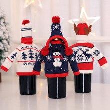 Вино держать бутылки кукла крышка украшения дома вечерние Санта Клаус Снеговик Рождество