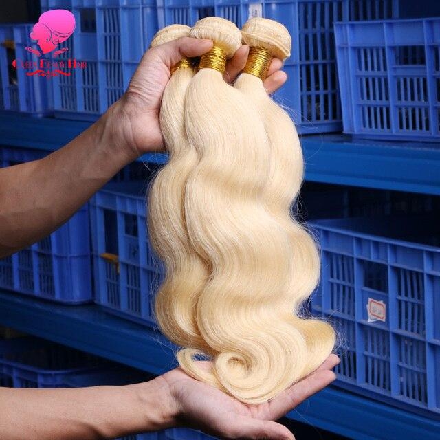 La belleza de la Reina 1/3/4 Remy humano 613 de la onda del cuerpo Rubio malayo extensiones de pelo ondulado 8 10 12 14 16 18 20 22 24 26 28 30 32 34 36 pulgadas