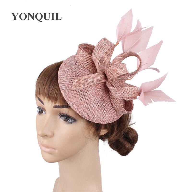 Новые женские шляпки с сеткой цвета хаки, модные женские шляпы с лентами для свадебной вечеринки, красивые аксессуары SYF570 - Цвет: peach