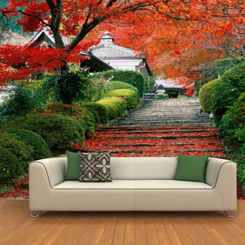Beibehang Custom Any Size 3d Hd Photos Scenery Wallpaper Background Park Maple Leaf Corridor Landscape Behang