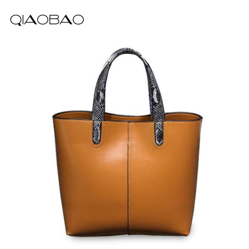 QIAOBAO 2018 New Designer Cowhide Leather Handbags Fashion Vintage Messenger Women Bag Casual High Quality Shoulder Bags Ladies 2017 new female genuine leather handbags first layer of cowhide fashion simple women shoulder messenger bags bucket bags