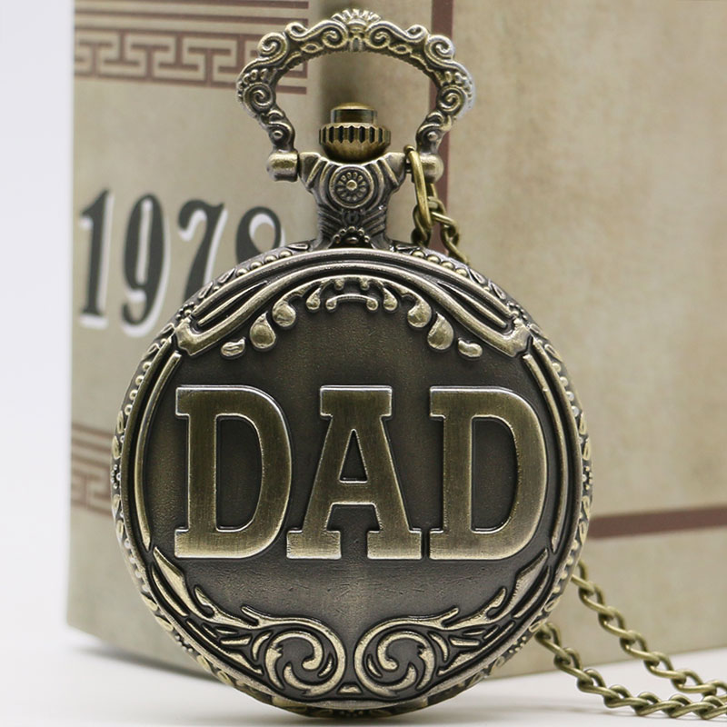 Antique DAD Pocket Watch Pendant Bronze necklace Mens Happy Father's Day Gift Free Shipping pocket watch russia the soviet union flag antique quartz necklace pendant mens gift new year relogios masculinos p1402