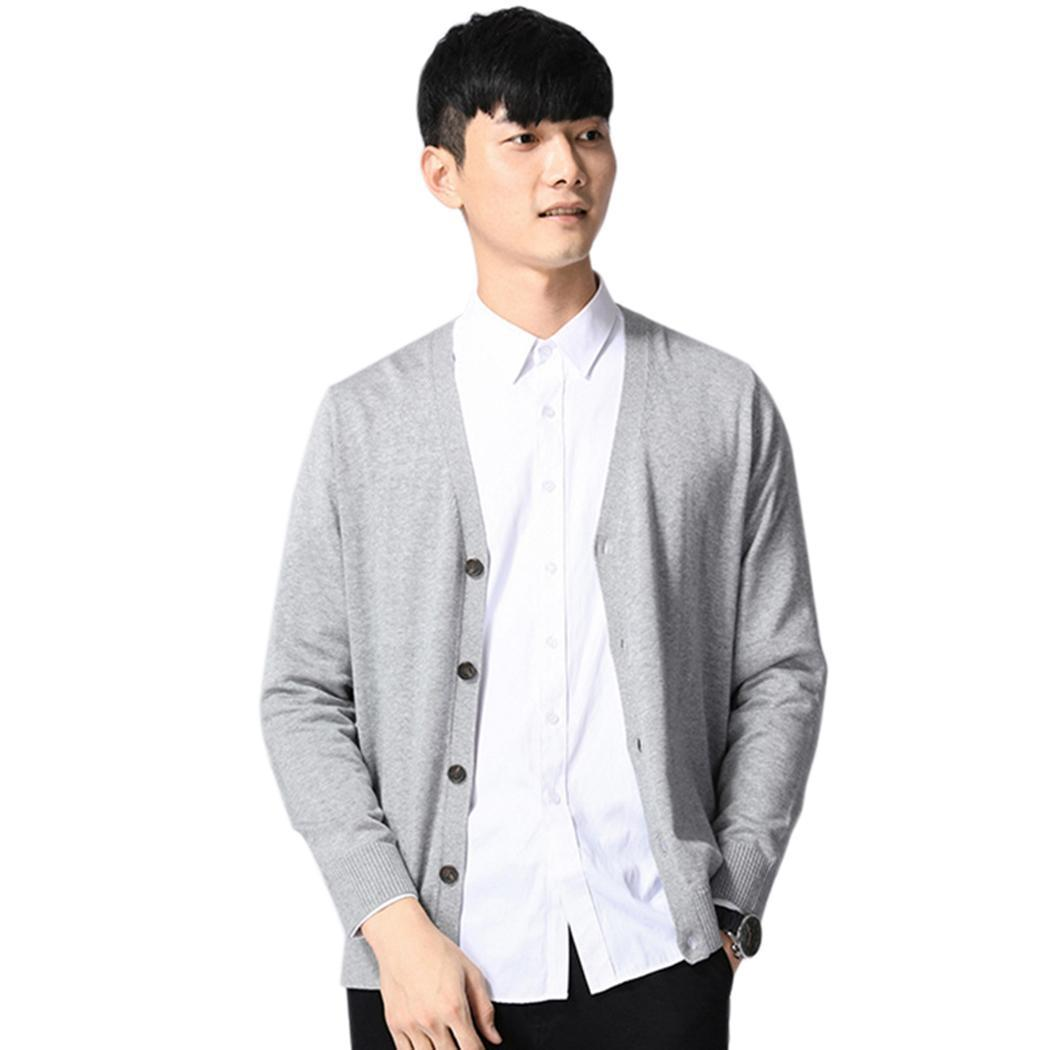 Men Casual Long Sleeve Solid Cardigan Spring, Autumn Button Closure Sweater