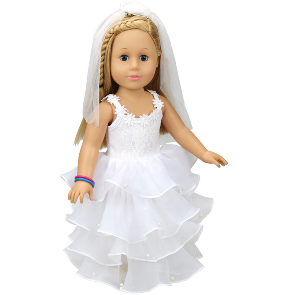 Elegant White Wedding Dress For 18 inch American Girl Doll Clothes Four Layers Wedding Dress With Veil dolls Accessories