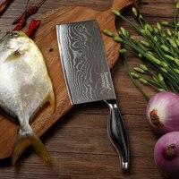 SUNNECKO 7 дюймов Кливер Ножи Кухня ножи японский высокое качество Дамаск VG10 Сталь лезвие Pakka деревянной ручкой режущие инструменты