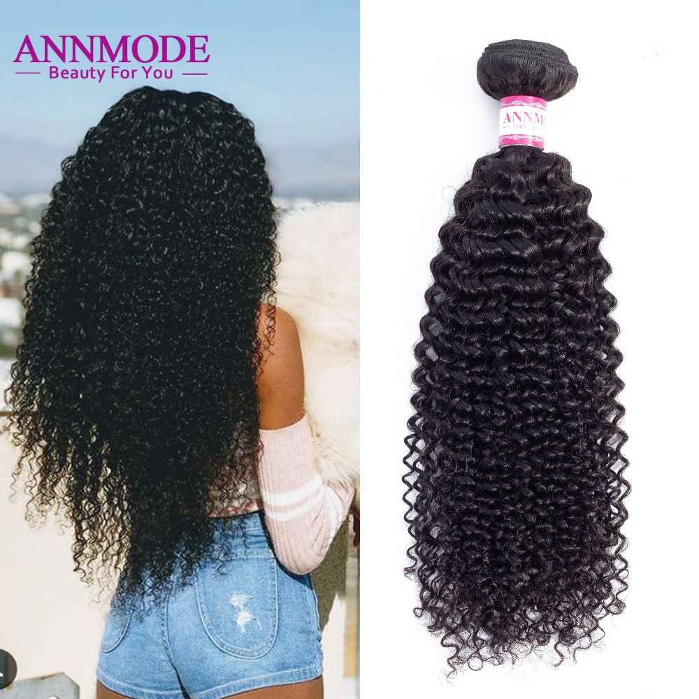 Annmode Afro Kinky Curly Hair 1/3/4 pc Color Natural 8-28 pulgadas - Cabello humano (negro)