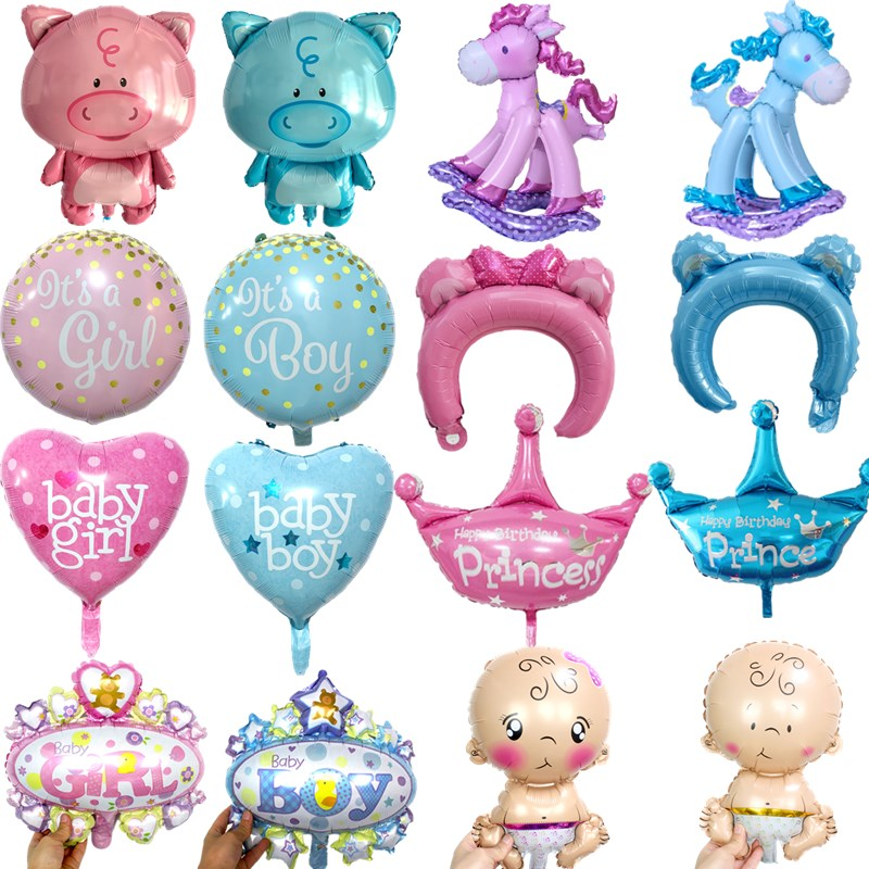 5pcs Cute Baby Shower Foil Balloons Baby Boy Girl Air Balloons For 1st Birthday Party Decorations Kids Toy Blue Pink Baloon Toy Home & Garden Festive & Party Supplies